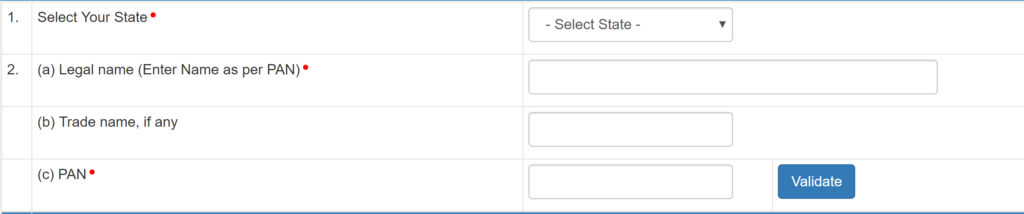 Select your State from the Dropdown